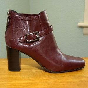 Deep Red Franco Sarto Heeled Ankle Boots Sz 8.5M